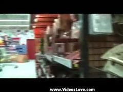 Amateur couple sex in super market