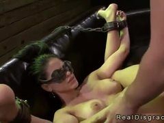 Blindfolded babe Jasmine Caro in bdsm rough fucked on couch