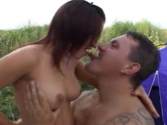 Dirty whore getting fucked on camp site